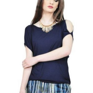 Bluza bleumarin cu spatele decupat D2544-B - Bluze si topuri -
