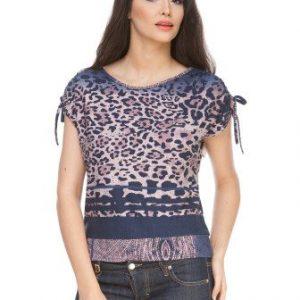 Bluza bleumarin din jerse cu animal print CV172 - Bluze si topuri -