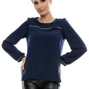 Bluza bleumarin din vascoza cu fundita B66 - Bluze si topuri -