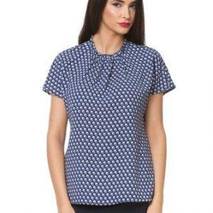 Bluza bleumarin din voal cu imprimeu cercuri D2323 - Bluze si topuri -