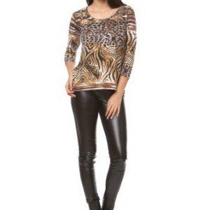 Bluza casual cu imprimeu leopard din vascoza CI162 bej - Bluze si topuri -
