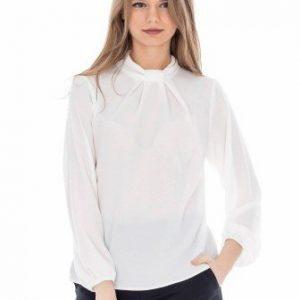 Bluza casual cu maneca lunga din voal BR907 alb - Bluze si topuri -