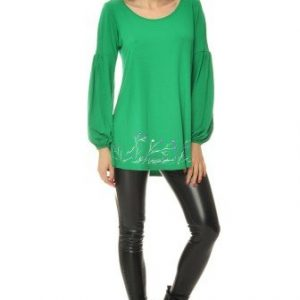 Bluza casual cu maneca lunga larguta si pictura manuala VE26VE verde - Bluze si topuri -