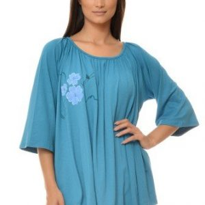 Bluza casual larguta cu pictura manuala din vascoza VE73 bleu - Bluze si topuri -