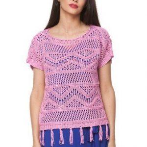 Bluza ciclam din tricot cu franjuri 15099 - Bluze si topuri -
