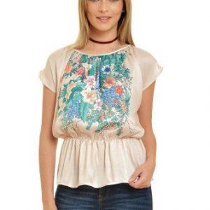 Bluza crem cu imprimeu floral V17 - Bluze si topuri -