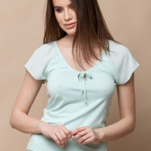 Bluza cu broderie de dantela florala CF495-B bleu - Bluze si topuri -