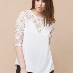 Bluza cu broderie de dantela florala CF495-I ivoire - Bluze si topuri -