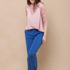 Bluza cu broderie din dantela florala CF495 roz - Bluze si topuri -