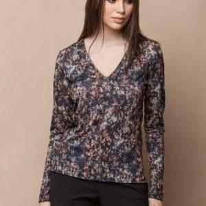 Bluza cu decolteul in V si imprimeu TDRI-AUTUMN - Bluze si topuri -