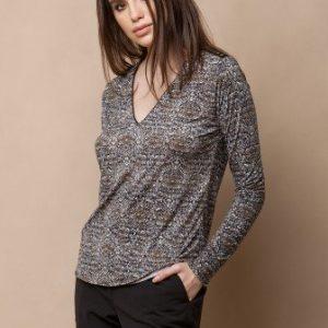 Bluza cu decolteul in V si imprimeu TDRI-SNAKE - Bluze si topuri -