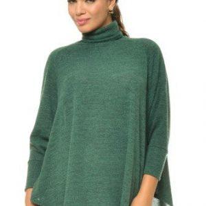 Bluza cu guler inalt din bumbac BN18 verde - Outlet -