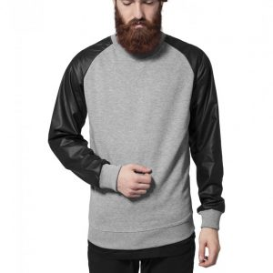 Bluza cu guler rotund maneci piele ecologica - Bluze cu guler rotund - Urban Classics>Barbati>Bluze cu guler rotund