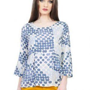 Bluza cu imprimeu buline si maneca evazata D2521 albastru - Bluze si topuri -