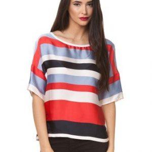 Bluza cu imprimeu dungi multicolore D2318 - Bluze si topuri -