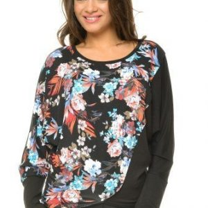 Bluza cu imprimeu floral din vascoza BN36 negru - Outlet -