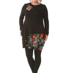 Bluza cu imprimeu floral si buzunare B071 negru - Bluze si topuri -