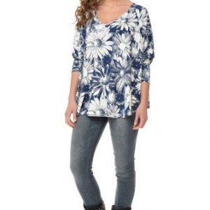 Bluza cu imprimeu floral si maneca trei sferturi din vascoza VE122 bleumarin-alb - Bluze si topuri -