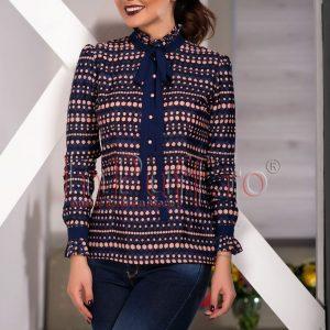 Bluza eleganta bleumarin cu imprimeu roz - CAMASI -