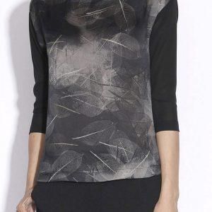 Bluza lejera din matase cu print vegetal Imprimat/Gri - Imbracaminte - Imbracaminte / Topuri