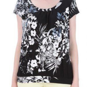 Bluza negru cu alb cu imprimeu floral B01 - Outlet -