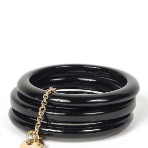 Bratara neagra cu lant auriu Negru - Accesorii - Accesorii / Bratari