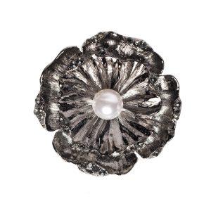 Brosa argintie cu perla. Fumuriu - Accesorii - Accesorii / Brose