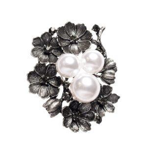 Brosa cu flori si perle Argintiu - Accesorii - Accesorii / Brose