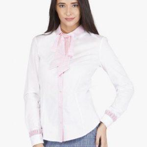 Camasa alba din bumbac cu funda roz 2116 - Camasi -