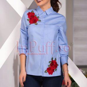 Camasa bleu cu broderie florala aplicata - CAMASI -
