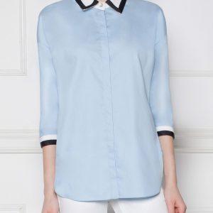 Camasa cu banda neagra in contrast Albastru - Imbracaminte - Imbracaminte / Camasi