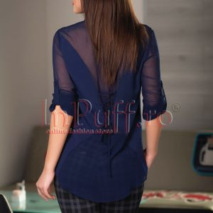 Camasa dama bleumarin cu maneca ajustabila - CAMASI -