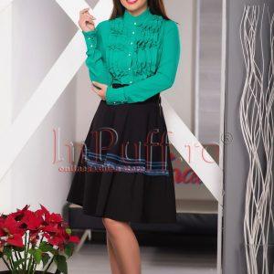 Camasa dama verde cu volanase la bust - CAMASI -