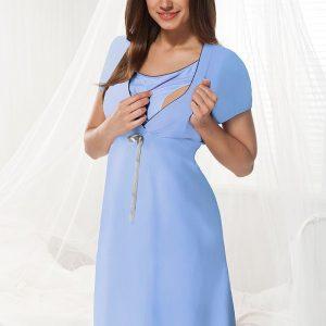 Camasa de noapte alaptare Dorota albastru - Lenjerie pentru femei - Lenjerie pentru gravide si mamici