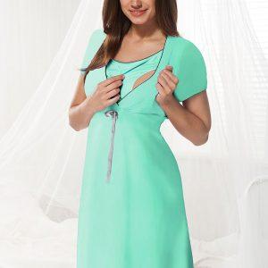 Camasa de noapte alaptare Dorota menta - Lenjerie pentru femei - Lenjerie pentru gravide si mamici