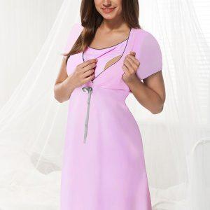 Camasa de noapte alaptare Dorota roz - Lenjerie pentru femei - Lenjerie pentru gravide si mamici