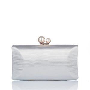 Clutch satinat decorat cu perle Argintiu - Genti - Genti / Clutch-uri