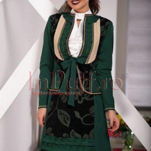 Compleu dama elegant verde cu aplicatii - COMPLEURI -