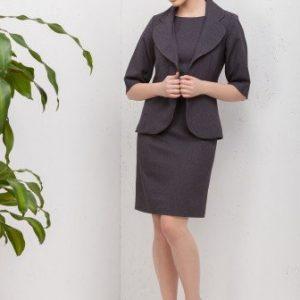 Compleu office cu rochie si sacou CI172 gri - Compleuri -