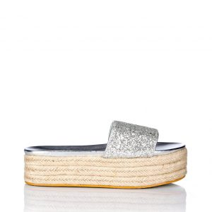 Espadrile cu gliter si talpa platforma Argintiu - Incaltaminte - Incaltaminte / Pantofi fara toc