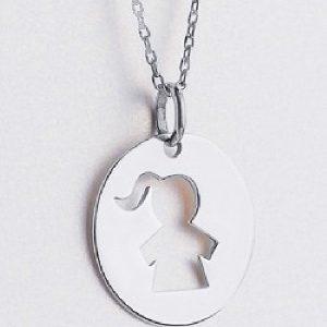 Lanț cu medalion fată argint - Produse > Cadouri WoW > Bijuterii WoW -