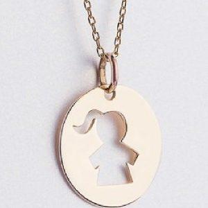 Lanț cu medalion fată aur - Produse > Cadouri WoW > Bijuterii WoW -