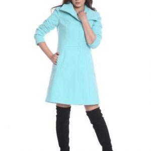Palton bleu matlasat din lana AM-10719 - Outlet -