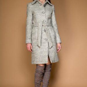 Palton clasic din stofa de lana tip bucle OZANA gri - Outlet -