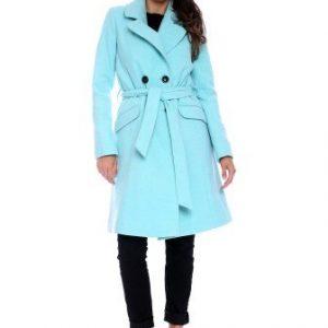 Palton din lana cu cordon AM-80722 turcoaz - Outlet -