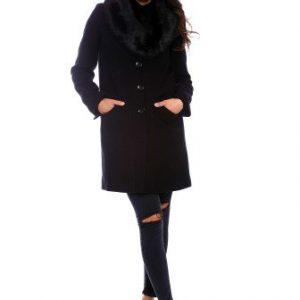 Palton din lana cu guler de blana AM-80714 negru - Outlet -