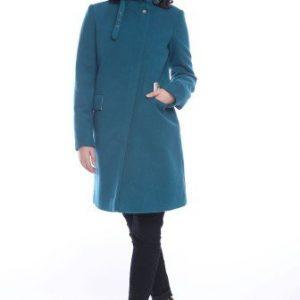 Palton din lana cu guler inalt AM-90709 turcoaz e inchis - Outlet -
