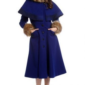 Palton elegant cu gluga si blanita ecologica AM-21611704 albastru - Outlet -