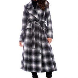 Palton lung din lana cu cordon AM-80711 negru/gri - Outlet -