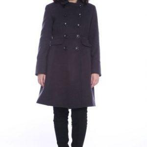 Palton matlasat din lana cu nasturi AM-90723 negru - Outlet -